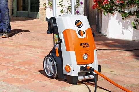 stihl power washer in action shot