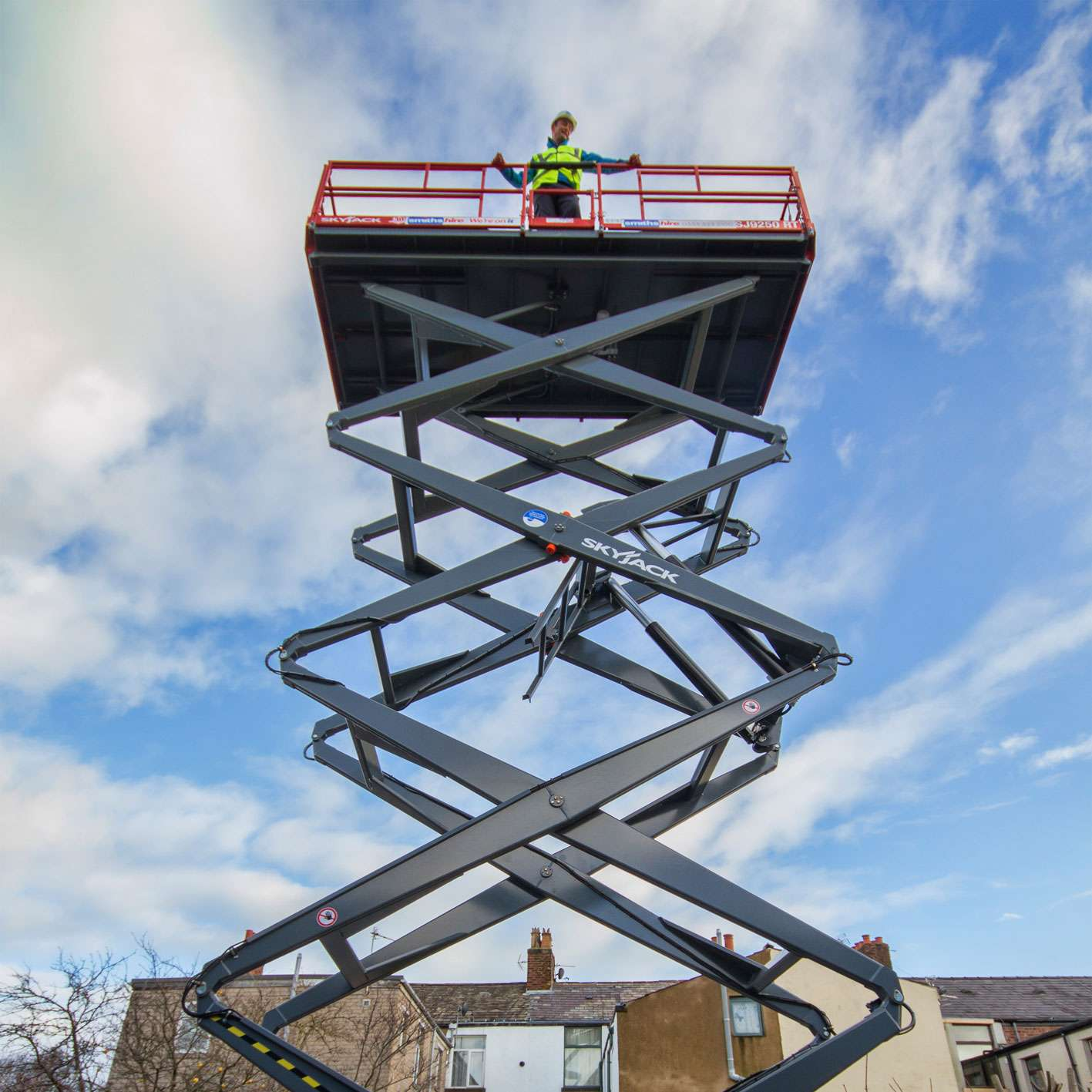 Smiths Hire Powered Access Scissor Lift In Action